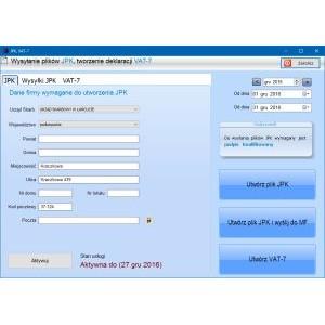 Jednolity plik kontrolny JPK - 1 rok dla wersji standard